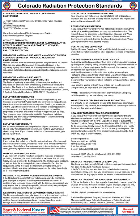 Colorado Radiation Protection Standards - State and Federal Poster