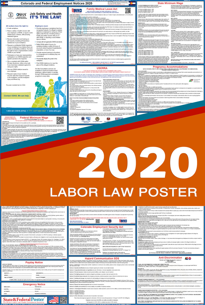 Colorado State and Federal Labor Law Poster 2020 - State and Federal Poster