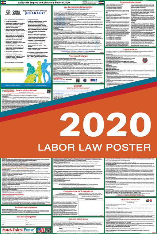 Colorado State and Federal Labor Law Poster 2020 (SPANISH) - State and Federal Poster