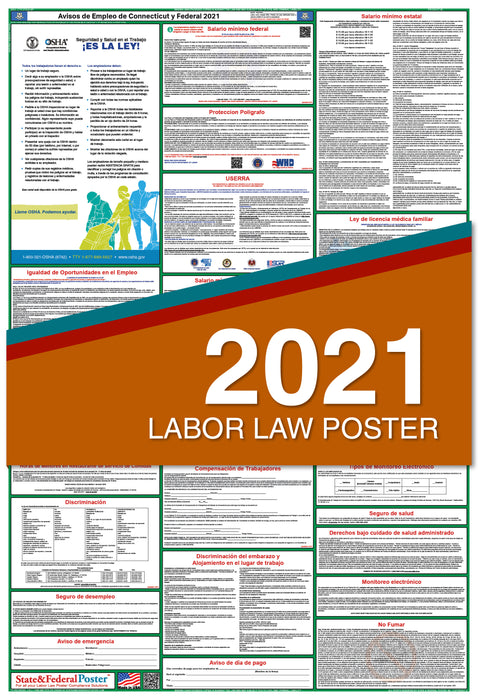 Connecticut State and Federal Labor Law Poster 2021 (SPANISH)
