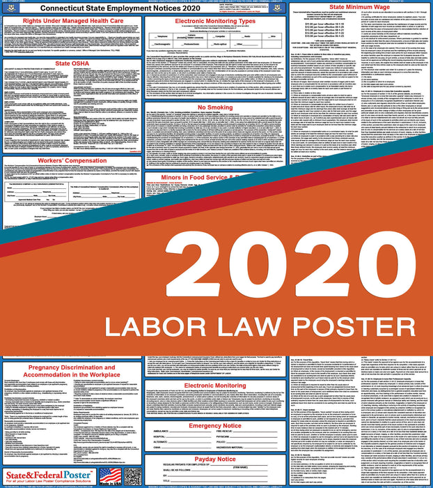 Connecticut State Labor Law Poster 2020 - State and Federal Poster