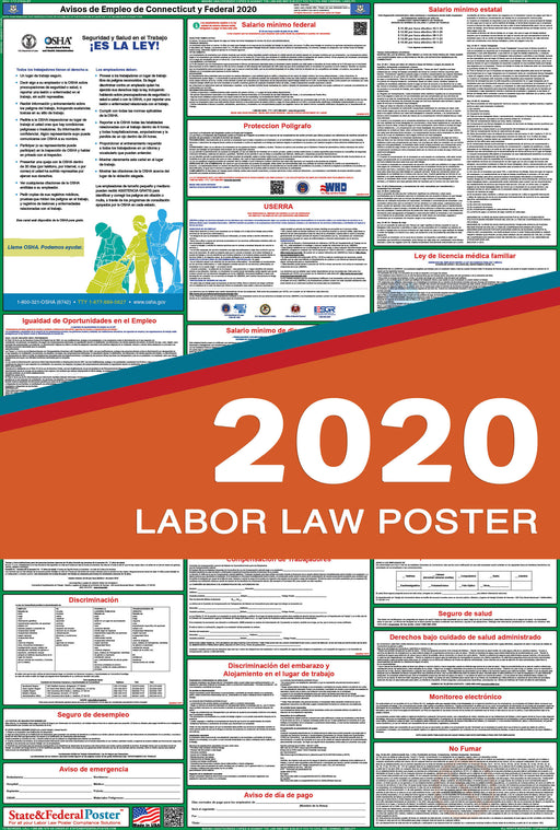 Connecticut State and Federal Labor Law Poster 2020 (SPANISH) - State and Federal Poster