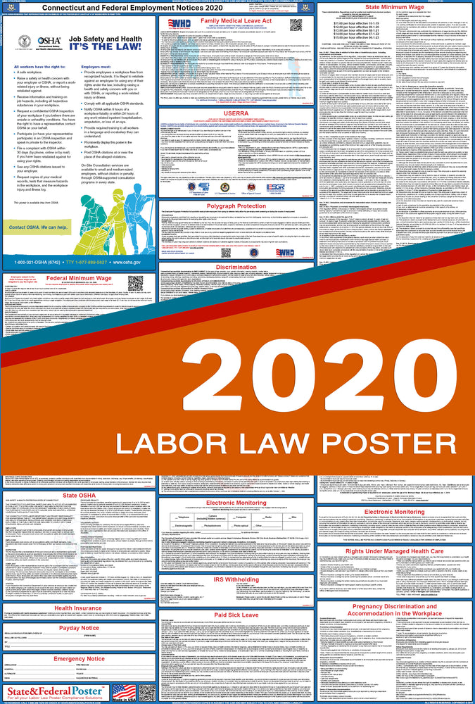 Connecticut State and Federal Labor Law Poster 2020 - State and Federal Poster