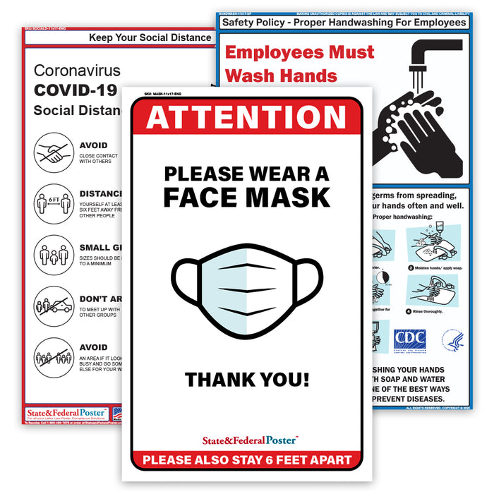 Covid-19 Safety Poster Set (3 Posters) - State and Federal Poster