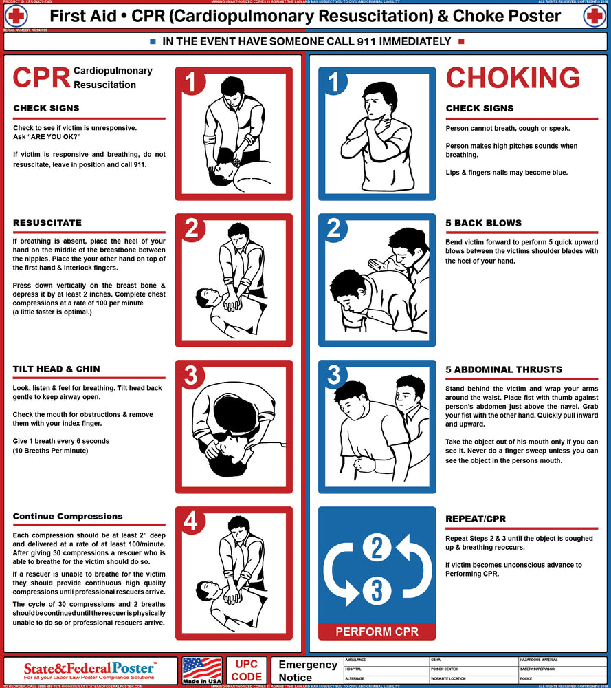 First Aid, CPR, and Choke Poster - State and Federal Poster