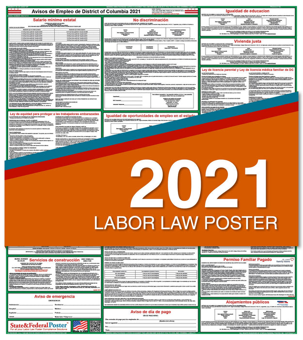 District of Columbia State Labor Law Poster 2021 (Spanish)