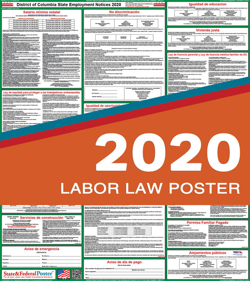 District of Columbia State Labor Law Poster 2020 (SPANISH) - State and Federal Poster
