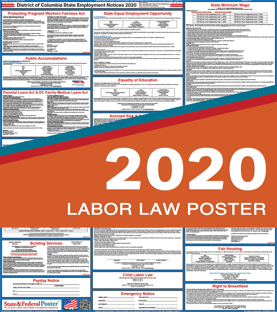 District of Columbia State Labor Law Poster 2020 - State and Federal Poster