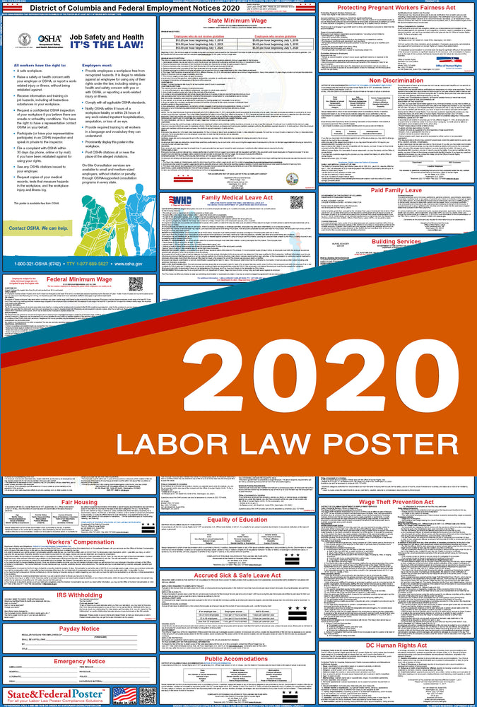 District of Columbia State and Federal Labor Law Poster 2020 - State and Federal Poster