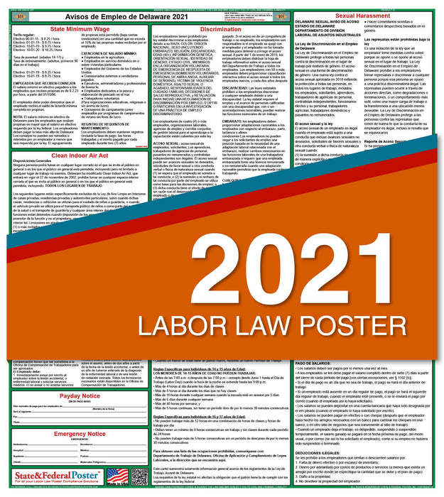 Delaware State Labor Law Poster 2021 (Spanish)