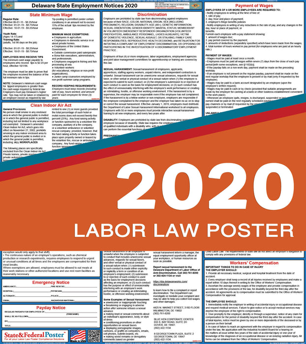 Delaware State Labor Law Poster 2020 - State and Federal Poster
