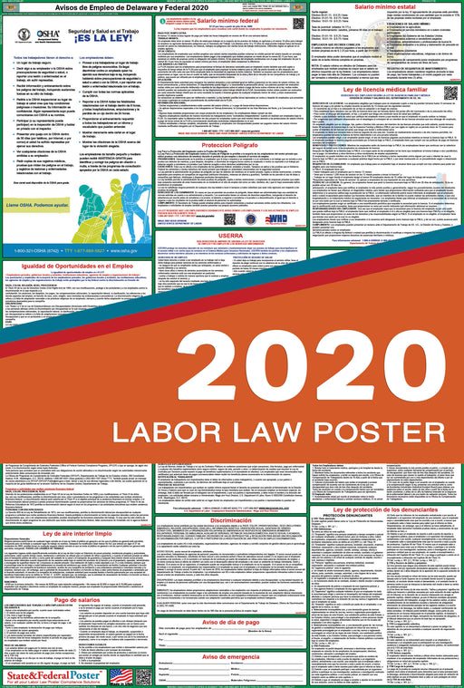 Delaware State and Federal Labor Law Poster 2020 (SPANISH) - State and Federal Poster