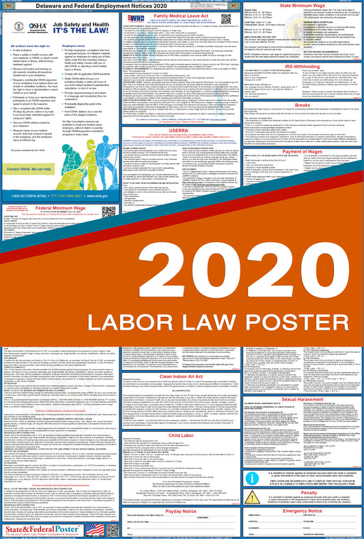 Delaware State and Federal Labor Law Poster 2020 - State and Federal Poster