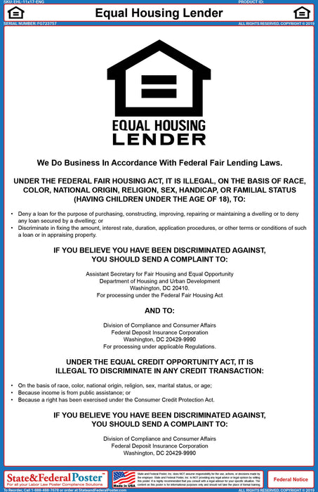 Equal Housing Lender Poster - State and Federal Poster