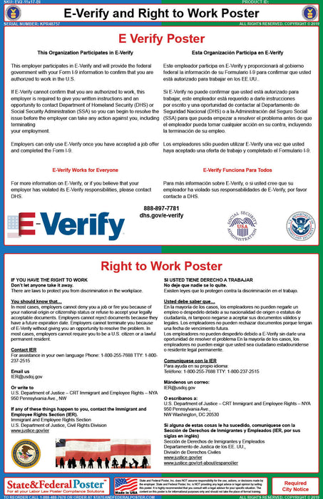 Federal E-Verify and Right to Work Poster (Bilingual) - State and Federal Poster
