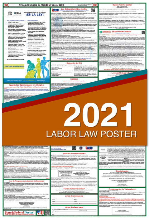 Florida State and Federal Labor Law Poster 2021 (SPANISH)