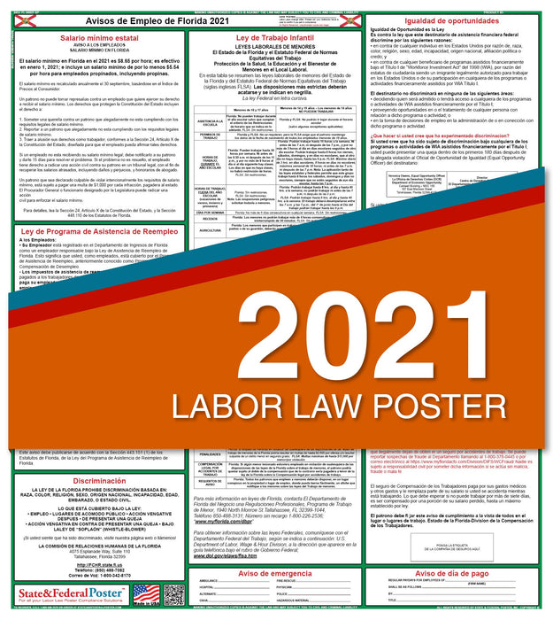 Florida State Labor Law Poster 2021 (Spanish)