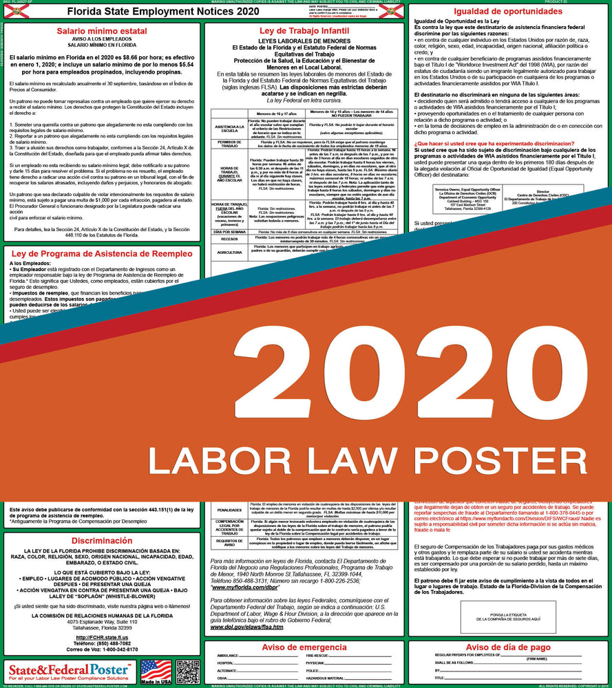 Florida State Labor Law Poster 2020 (SPANISH) - State and Federal Poster