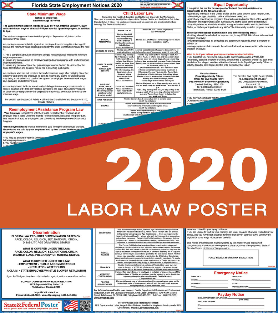 Florida State Labor Law Poster 2020 - State and Federal Poster