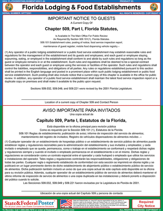 Florida Lodging & Food Establishment Ordinance (Bilingual) - State and Federal Poster