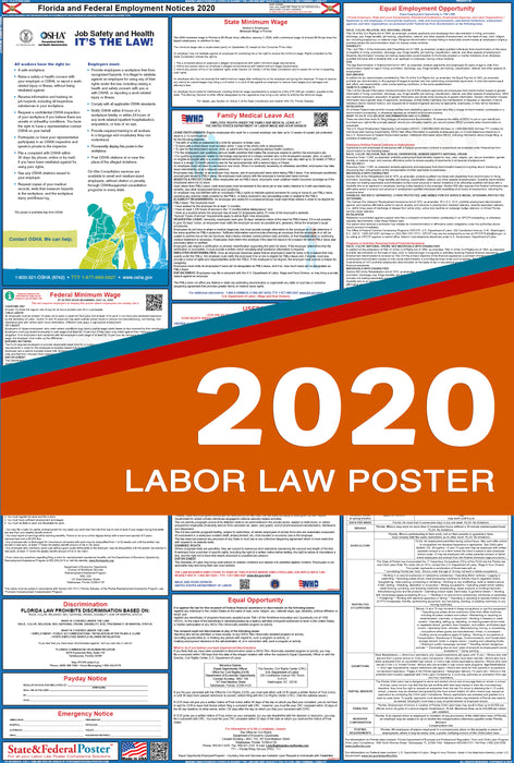 Florida State and Federal Labor Law Poster 2020 - State and Federal Poster