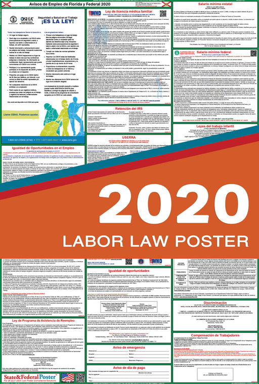 Florida State and Federal Labor Law Poster 2020 (SPANISH) - State and Federal Poster