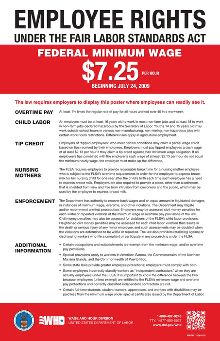 Fair Labor Standards Act (FLSA) Minimum Wage Poster - State and Federal Poster