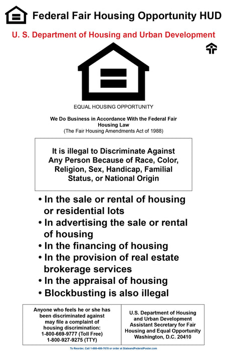 Federal Fair Housing Poster - State and Federal Poster