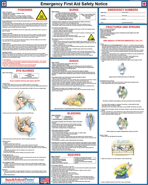 First Aid Safety Poster - State and Federal Poster