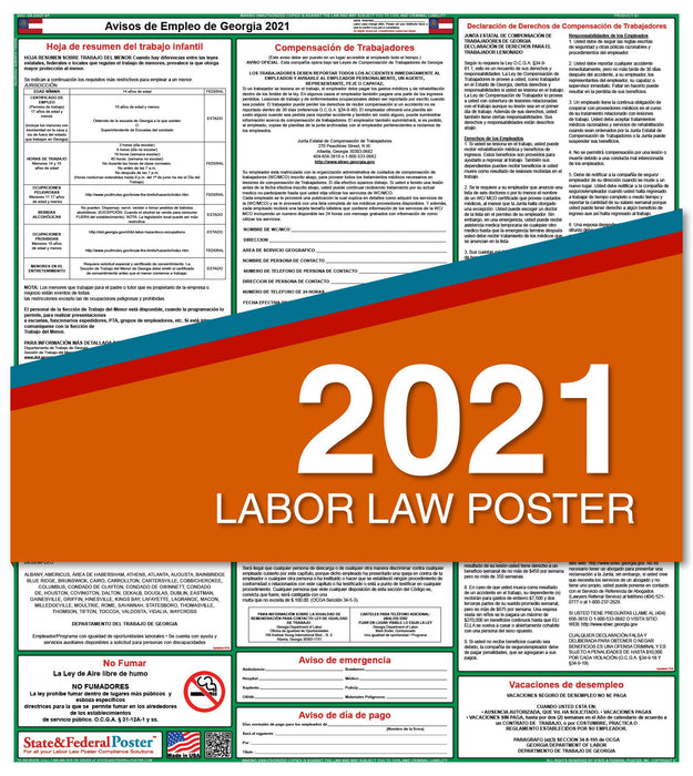 Georgia State Labor Law Poster 2021 (Spanish)