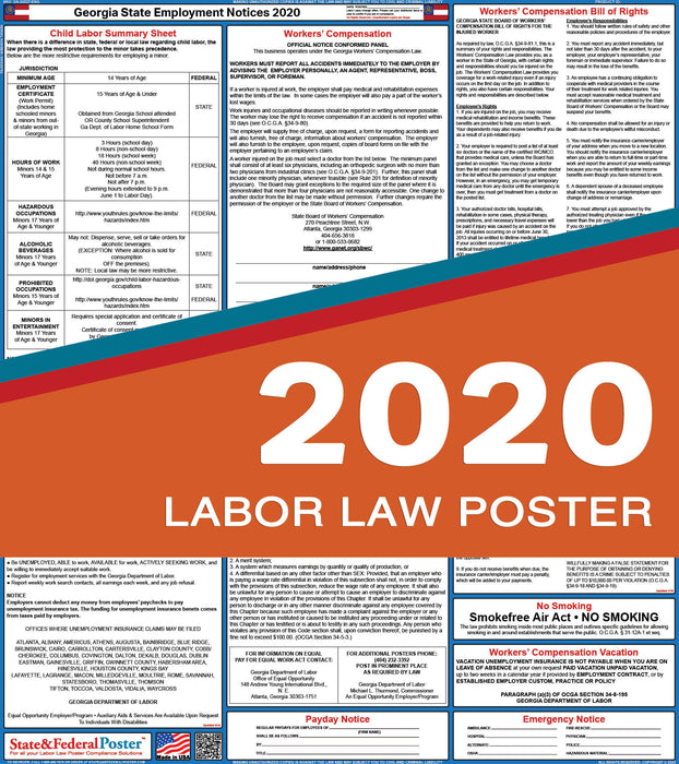 Georgia State Labor Law Poster 2020 - State and Federal Poster