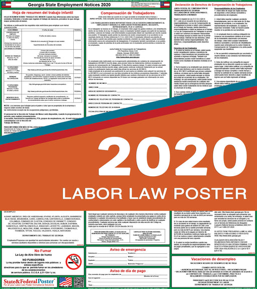 Georgia State Labor Law Poster 2020 (SPANISH) - State and Federal Poster