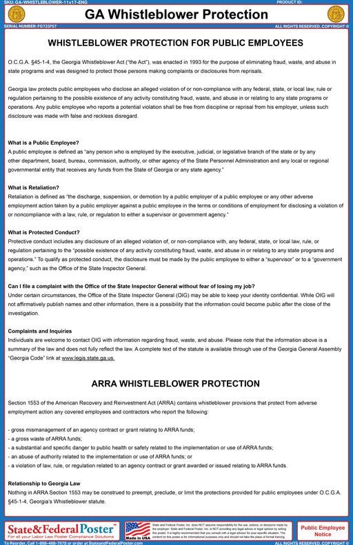Georgia Whistleblower Protection Act Poster - State and Federal Poster