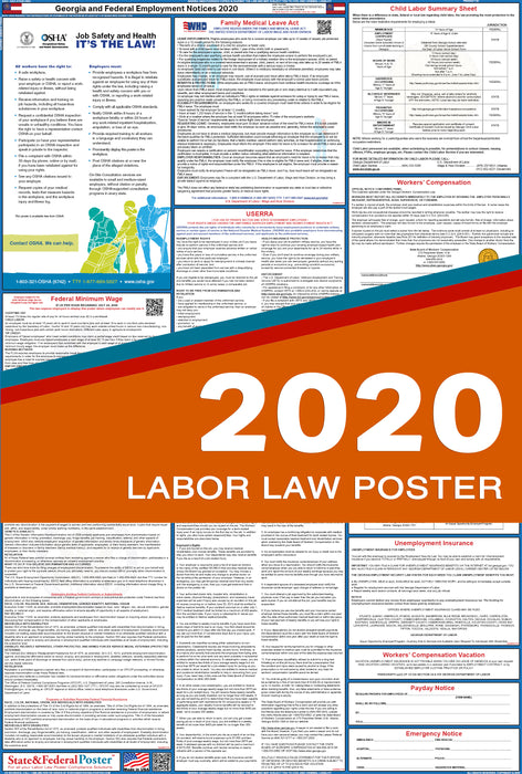 Georgia State and Federal Labor Law Poster 2020 - State and Federal Poster