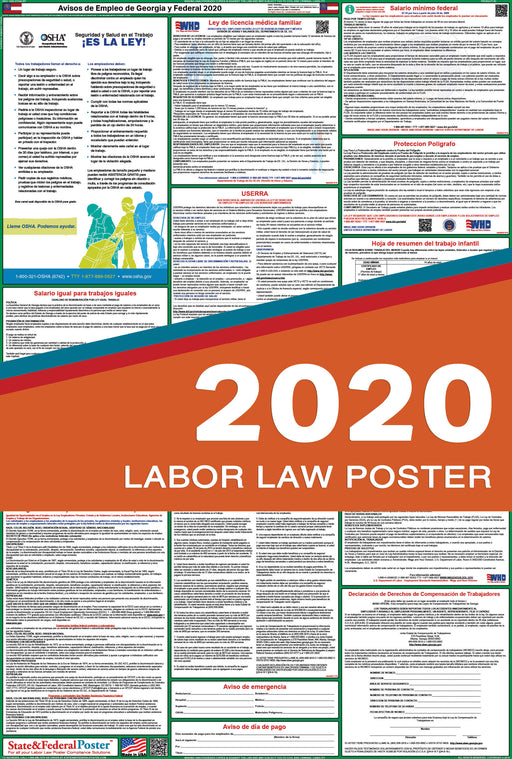 Georgia State and Federal Labor Law Poster 2020 (SPANISH) - State and Federal Poster