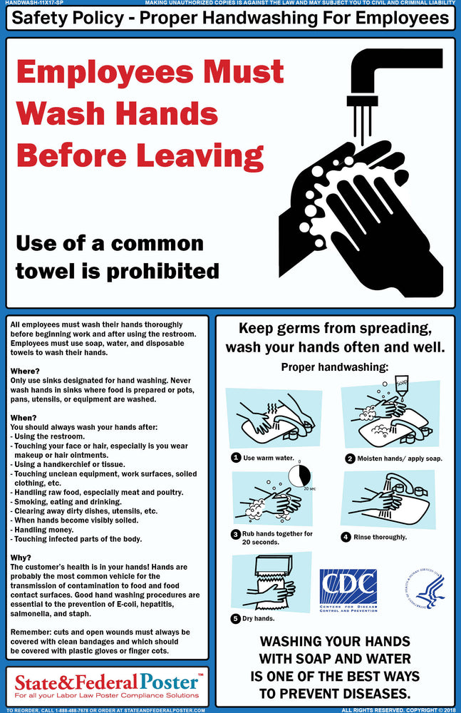Handwash Poster - State and Federal Poster