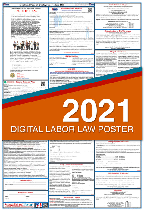 Digital Hawaii State and Federal Labor Law Poster 2021