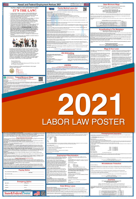 Hawaii State and Federal Labor Law Poster 2021