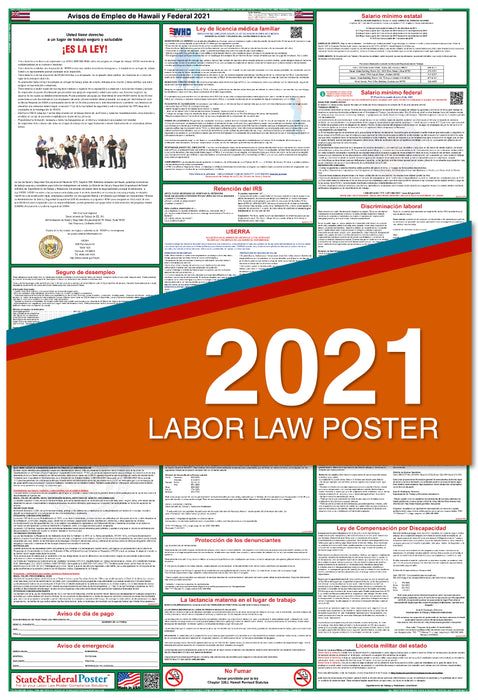 Hawaii State and Federal Labor Law Poster 2021 (SPANISH)
