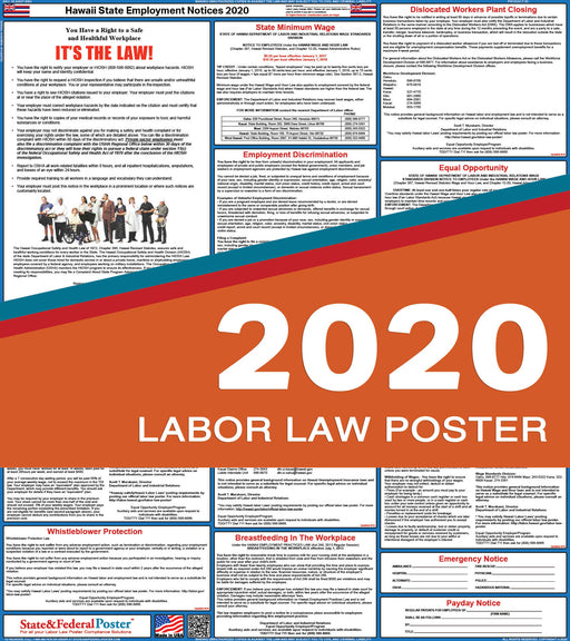 Hawaii State Labor Law Poster 2020 - State and Federal Poster