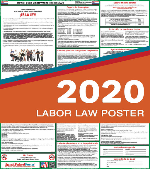 Hawaii State Labor Law Poster 2020 (SPANISH) - State and Federal Poster