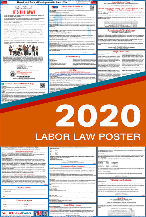 Hawaii State and Federal Labor Law Poster 2020 - State and Federal Poster