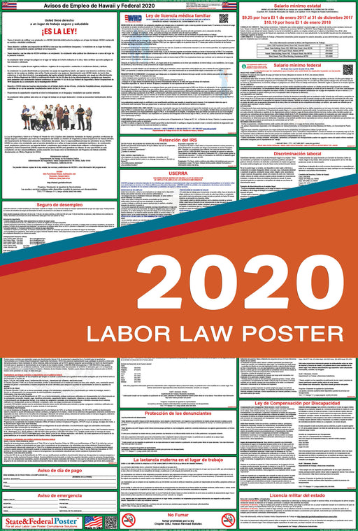 Hawaii State and Federal Labor Law Poster 2020 (SPANISH) - State and Federal Poster