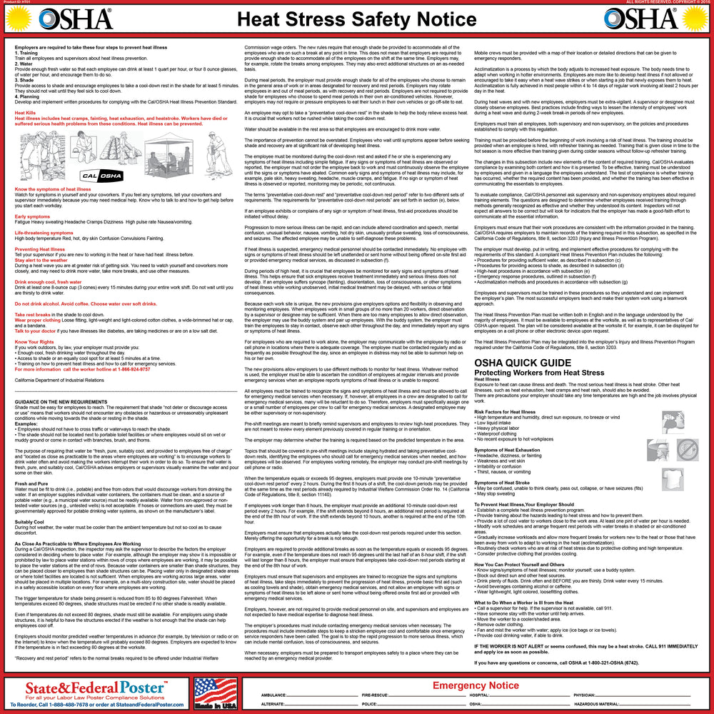 Heat Stress Poster - State and Federal Poster