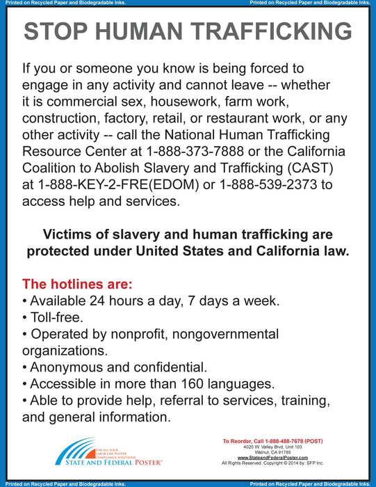 California Human Trafficking Poster - State and Federal Poster