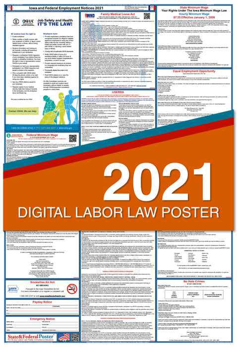 Digital Iowa State and Federal Labor Law Poster 2021
