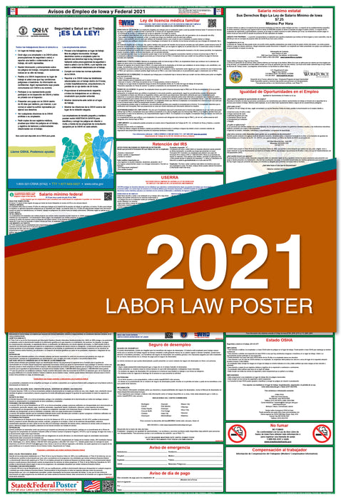 Iowa State and Federal Labor Law Poster 2021 (SPANISH)