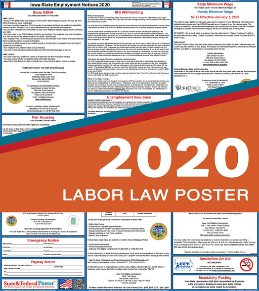 Iowa State Labor Law Poster 2020 - State and Federal Poster
