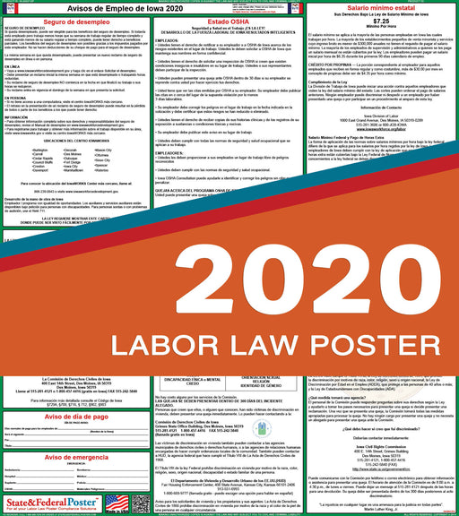 Iowa State Labor Law Poster 2020 (SPANISH) - State and Federal Poster