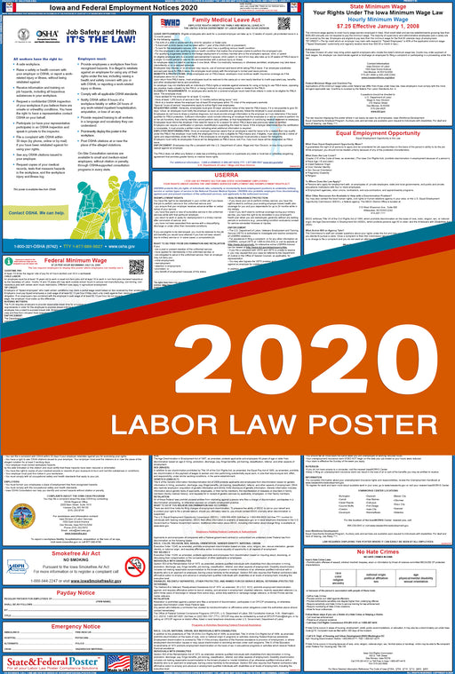 Iowa State and Federal Labor Law Poster 2020 - State and Federal Poster